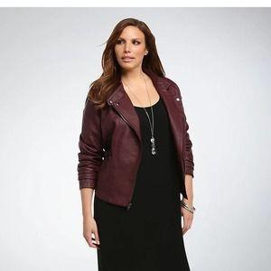 [Torrid] Merlot Faux Leather Seamed Moto Jacket